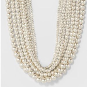Short Faux Pearl Multi-row Necklace